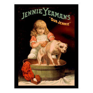 Jenny Yeaman's Girl Washing Dog Postcard