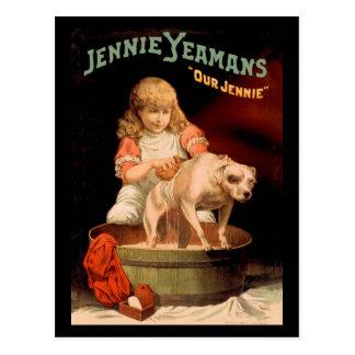 Jenny Yeaman's Girl Washing Dog Postcard