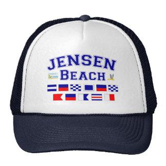 Jensen Beach, FL - Nautical Flag Spelling Trucker Hat