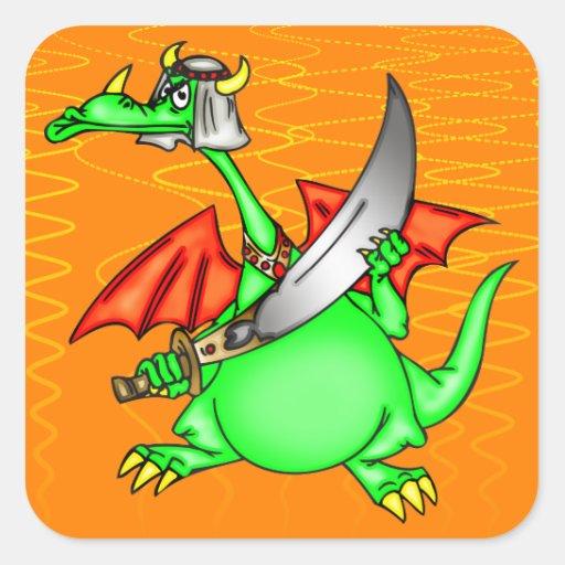 Jeque del dragón calcomania cuadrada personalizada