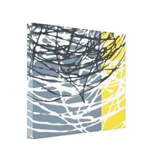 Jerarquía abstracta en gris y amarillo impresión en lienzo