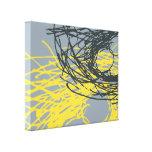 Jerarquía abstracta en gris y amarillo lona envuelta para galerias