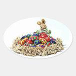 Jerarquía del caramelo del conejito de pascua calcomania óval