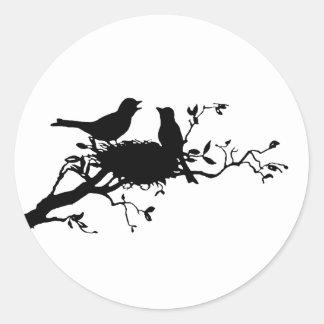 Jerarquía del pájaro pegatina redonda