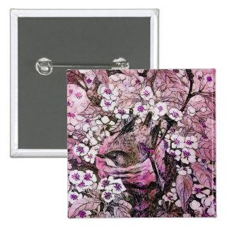 JERARQUÍA del PÁJARO, violeta rosada roja blanca Pin Cuadrado