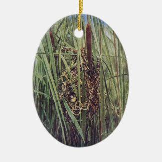 Jerarquía del Wren de pantano en Cattails Adornos De Navidad