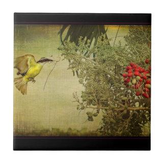 Jerarquización tropical del pájaro en palmera del  teja cerámica