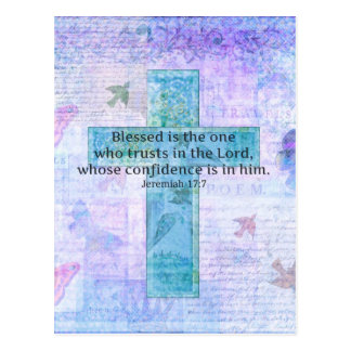 Jeremiah 17:7 Blessed is the man Bible verse cross Postcard