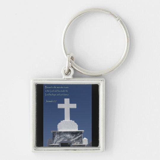 Jeremiah 17-7 Cross Keychain