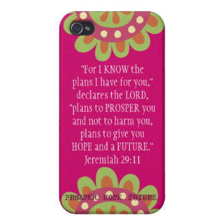 Jeremiah 2911 Scripture iPhone Prosper Hope Future iPhone 4/4S Covers