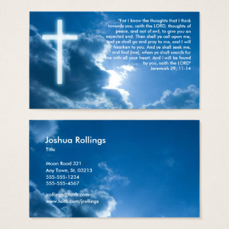 Jeremiah 29; 11-14 | Blue Christian Business Card