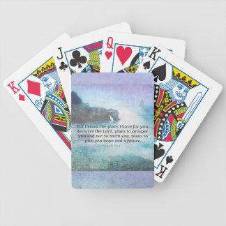 Jeremiah 29:11 Bible Verse Beach ocean waves Bicycle Playing Cards