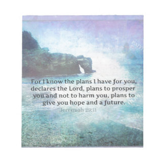 Jeremiah 29:11 Bible Verse Beach ocean waves Notepad