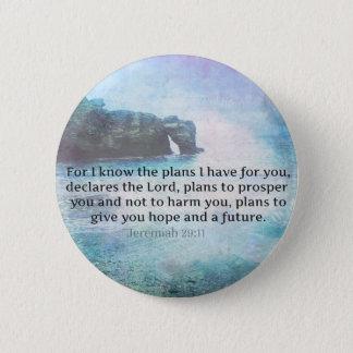 Jeremiah 29:11 Bible Verse Beach ocean waves Pinback Button