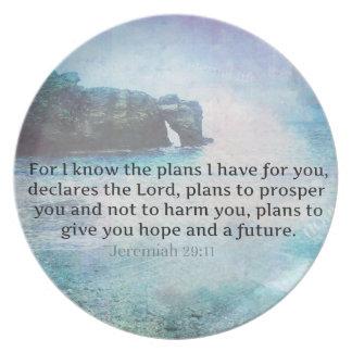 Jeremiah 29:11 Bible Verse Beach ocean waves Plate