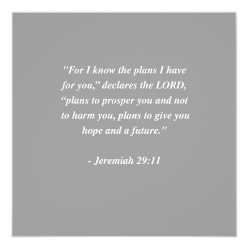 JEREMIAH 29:11 Bible Verse Personalized Announcements
