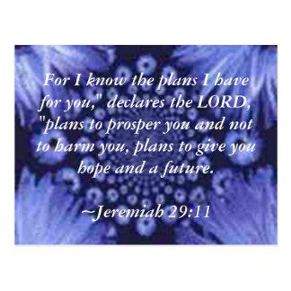 Jeremiah 29:11 Blue Daisy Post Card