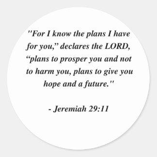 JEREMIAH 29:11 CLASSIC ROUND STICKER