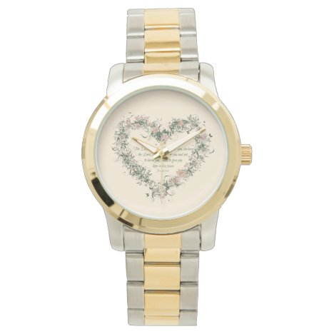 Jeremiah 29:11 Floral Heart Gold and Silver Tone Watch