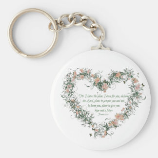 Jeremiah 29:11 Floral Heart Key Chain