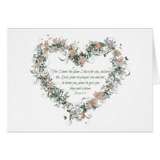 Jeremiah 29:11 Flower Heart Card