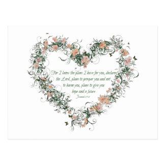 Jeremiah 29:11 Flower Heart Postcard