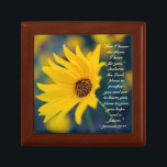 "Jeremiah 29:11 For I know the plans I have for you Gift Box<br><div class=""desc"">Beautiful scripture Wooden Jewelry Keepsake Box depicts a cheerful yellow wildflower and features Bible Verse Jeremiah 29:11,  For I know the plans I have for you,  declares the Lord,  plans to prosper you and not to harm you,  plans to give you hope and a future.~</div>"