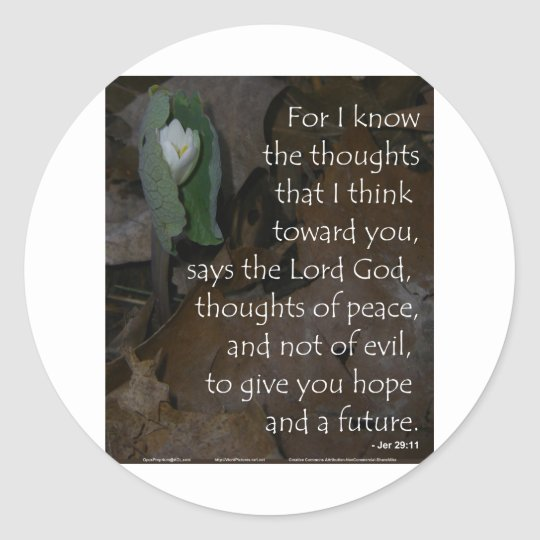 Jeremiah 29:11 hope for the future classic round sticker