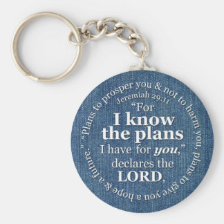 Jeremiah 29:11 I Know the Plans Bible Verse Denim Basic Round Button Keychain