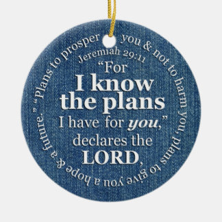 Jeremiah 29:11 I Know the Plans Bible Verse Denim Double-Sided Ceramic Round Christmas Ornament