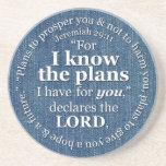 Jeremiah 29:11 I Know the Plans Bible Verse Denim Sandstone Coaster