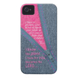 Jeremiah 29:11 I Know The Plans Denim Zipper Pull iPhone 4 Case-Mate Case