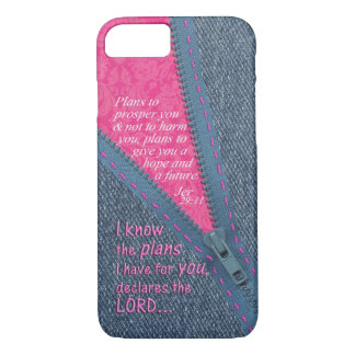 Jeremiah 29:11 I Know The Plans Denim Zipper Pull iPhone 8/7 Case
