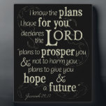 "Jeremiah 29:11 I know the plans I have for you... Plaque<br><div class=""desc"">&quot;I know the plans I have for you, &quot; declares the Lord, &quot;plans to prosper you and not to harm you, plans to give you hope and a future.&quot; Jeremiah 29:11 is a Bible verse that offers hope to all believers. Let this Old Testament scriptures give you encouragement. This beautiful...</div>"