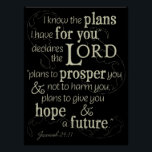 "Jeremiah 29:11 I know the plans I have for you... Poster<br><div class=""desc"">&quot;I know the plans I have for you, &quot; declares the Lord, &quot;plans to prosper you and not to harm you, plans to give you hope and a future.&quot; -- Jeremiah 29:11. This scripture from the Old Testament is one of God&#39;s promises and offers encouragement to all faithful believers. A...</div>"