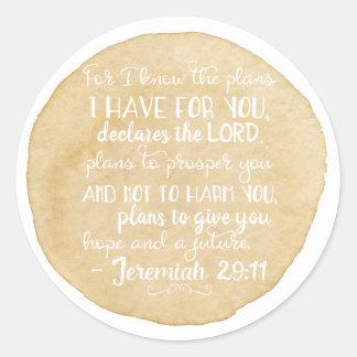 Jeremiah 29:11 Inspiration Christian Stickers Gold
