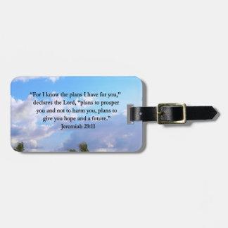 JEREMIAH 29:11 INSPIRATIONAL VERSE BAG TAG
