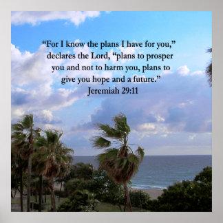 JEREMIAH 29:11 INSPIRATIONAL VERSE POSTER
