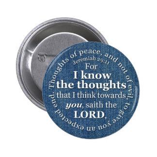 Jeremiah 29:11 KJV Denim Bible Verse Quote Button
