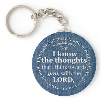 Jeremiah 29:11 KJV Denim Bible Verse Quote Keychain