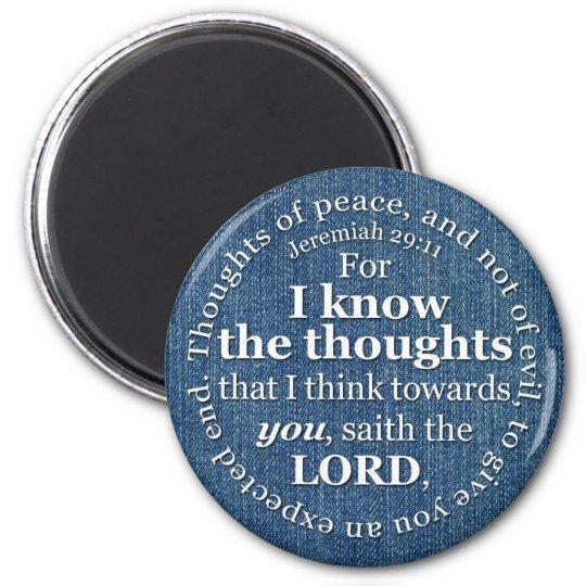 Jeremiah 29:11 KJV Denim Bible Verse Quote Magnet