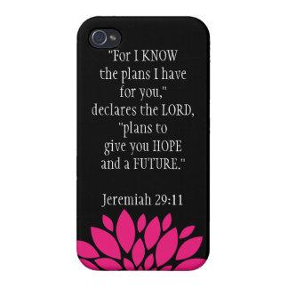 Jeremiah 29 11 negro del caso del iPhone 4 del cri iPhone 4 Cárcasa