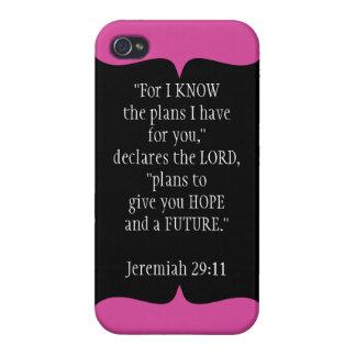 Jeremiah 29 11 negro del caso del iPhone 4 del ver iPhone 4 Cobertura
