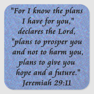 Jeremiah 29-11 pegatina cuadrada