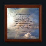 "Jeremiah 29:11 Rainbow Jewelry Box<br><div class=""desc"">This jewelry box shows a beautiful rainbow and sun-kissed clouds that appeared over the small Gold Country town of Valley Springs, California. Along with this lovely rainbow is the Bible verse Jeremiah 29:11 which reads, &quot;For I know the plans I have for you, "" declares the Lord, ""plans to prosper...</div>"