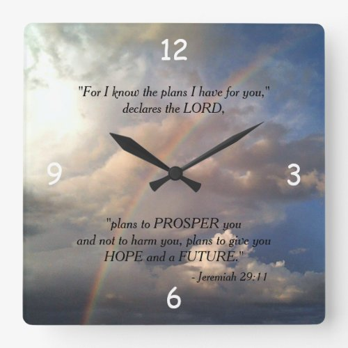 Jeremiah 29:11 Rainbow Wall Clock