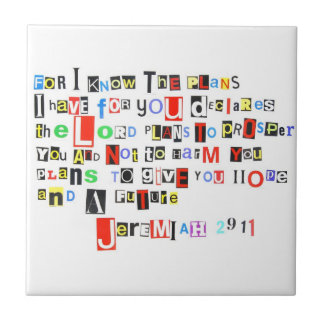 Jeremiah 29:11 Ransom Note Style Tile