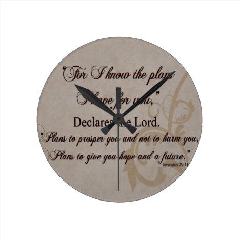 Jeremiah 29:11 Scripture Gift Round Clock