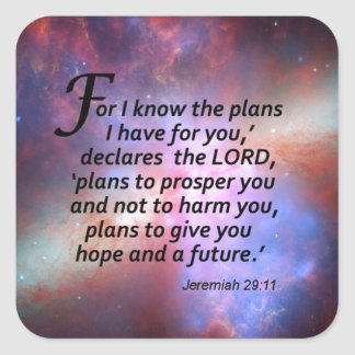 Jeremiah 29:11 square stickers