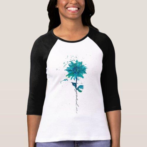 Jeremiah 2911 Teal Gerbera Daisy 34 Sleeve T_Shirt